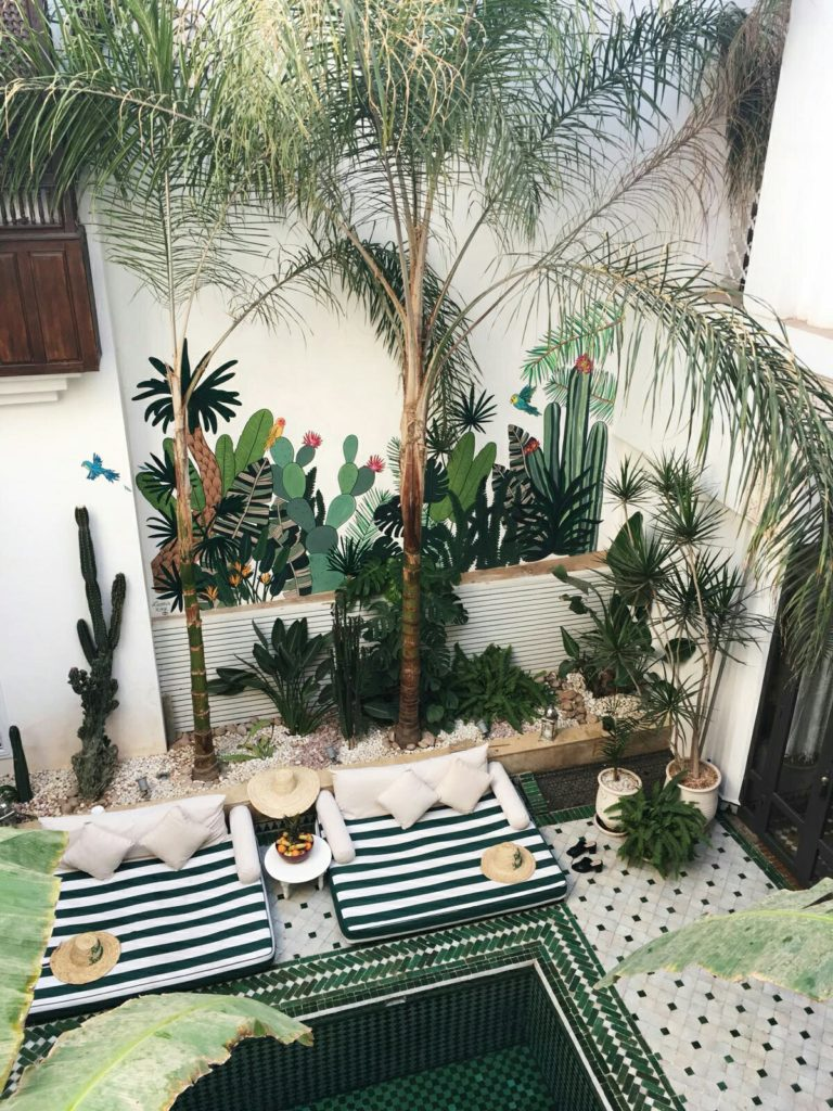 murales in stile giungla all'interno di un patio con cactus e cuscini