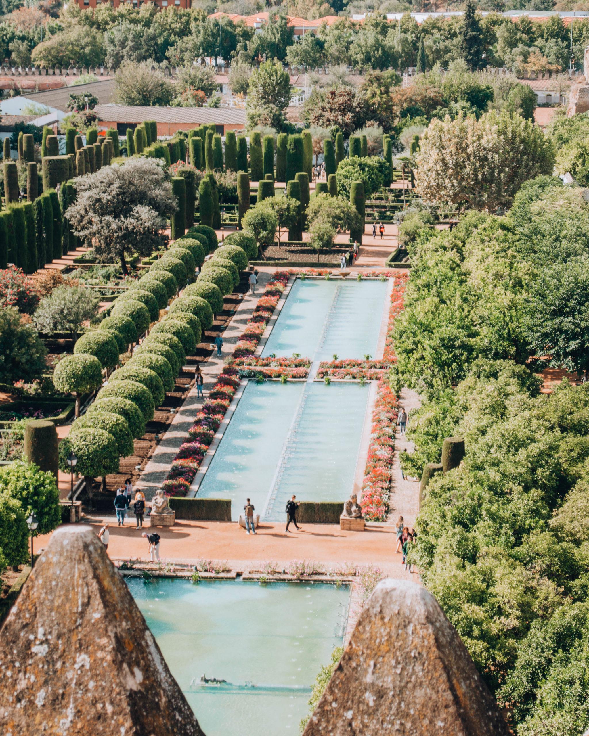 Vista dall'alto di fontana d'acqua rettangolare in un giardino