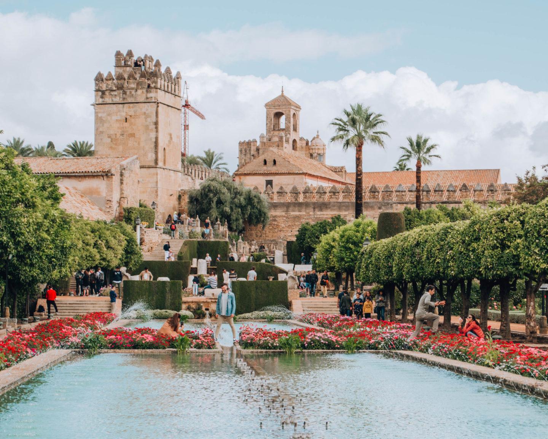 fortezza araba con palme, fiori e piante colorati