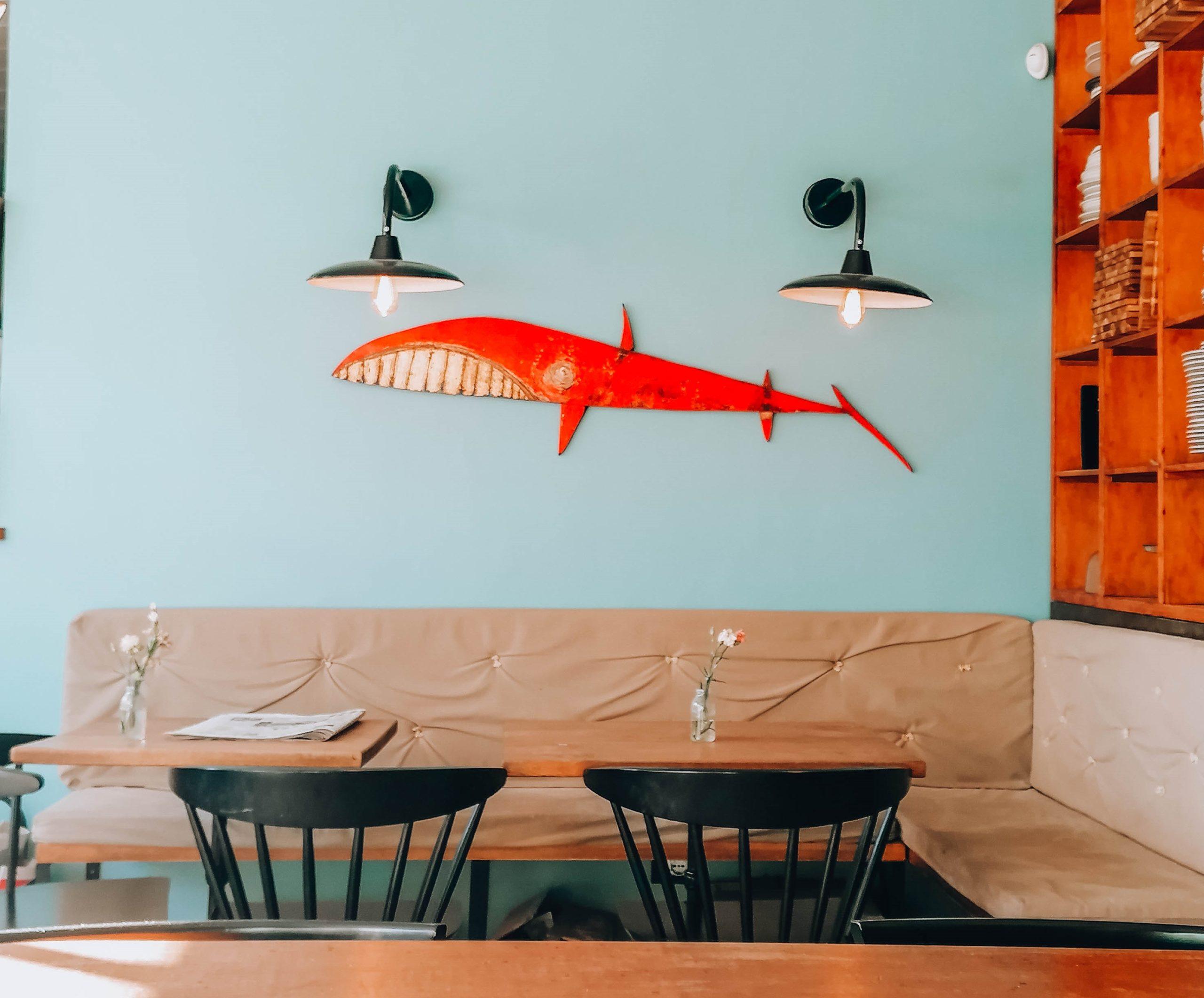 interno di locale con tavolo legno, divanetti e squalo appeso alla parete