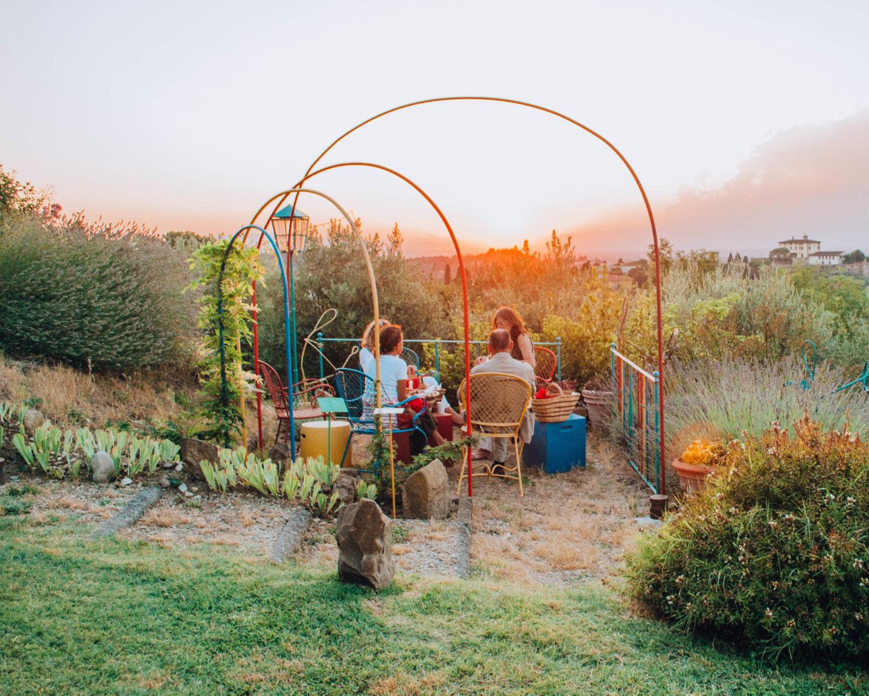 picnic al tramonto con vista
