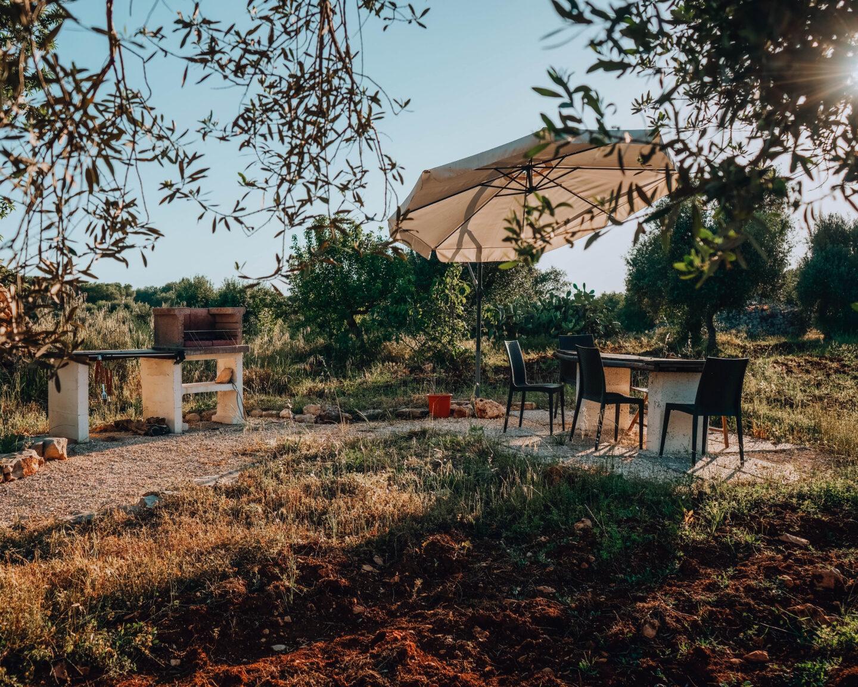 esterno di giardino con tavolo e sedie per pranzo